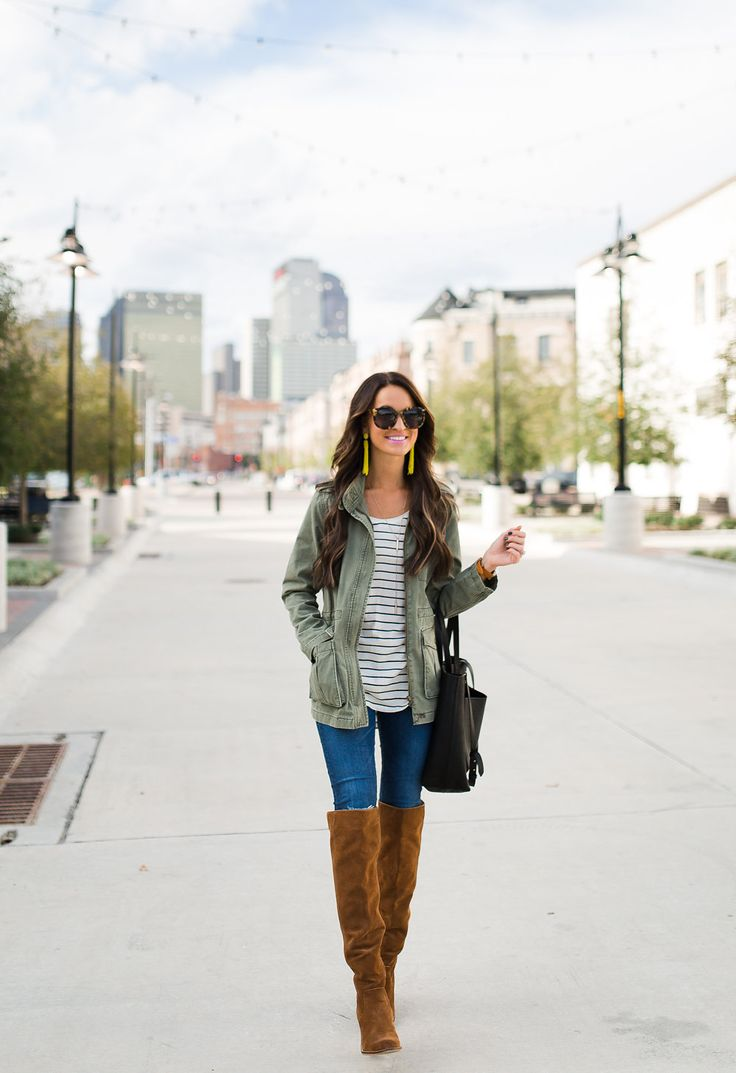 army jacket + over the knee boots