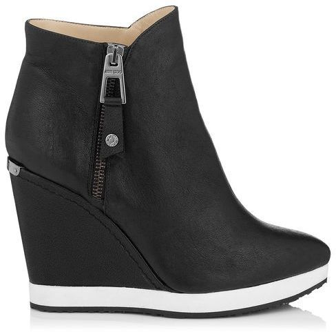 $950, Black and White Leather Wedge Ankle Boots: Jimmy Choo Parole Soft Calf Leather Wedged Ankle Boot. Sold by Jimmy Choo. Click for more info: https://lookastic.com/women/shop_items/123730/redirect