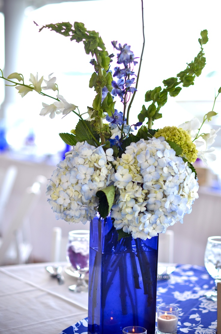 Blue glass centerpieces so cute pinterest orange