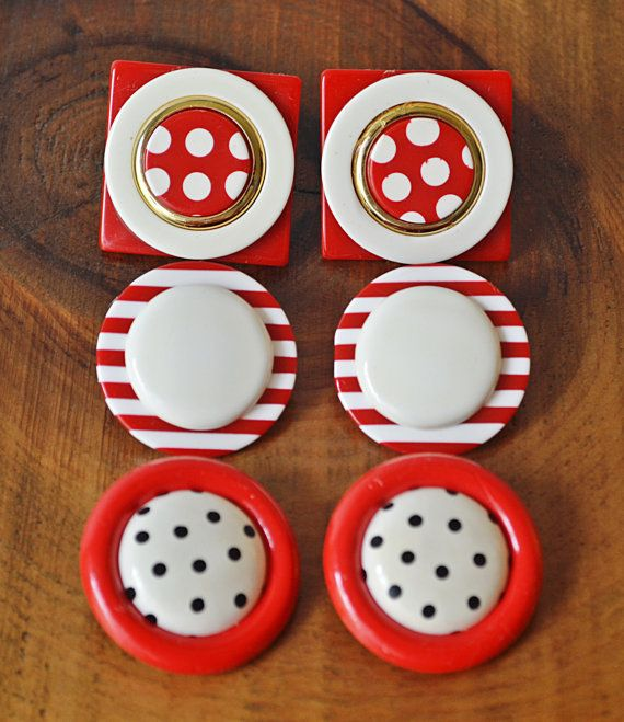 Vintage Earrings Red And White Earrings Stripes by Collectitorium