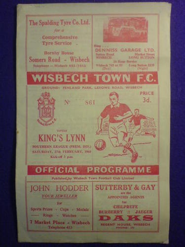 Away to Wisbech Town   27 Feb 1960   Southern League