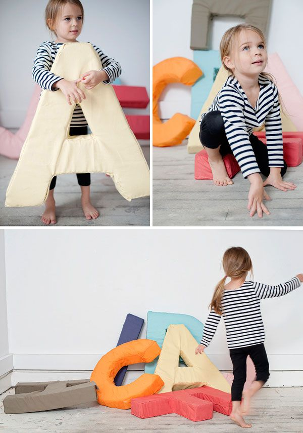 Alphabet Letter DIY - giant letter pillows!  Would be so fun to have the letters of your child's name so they can experiment with spelling using letters they're familiar with.