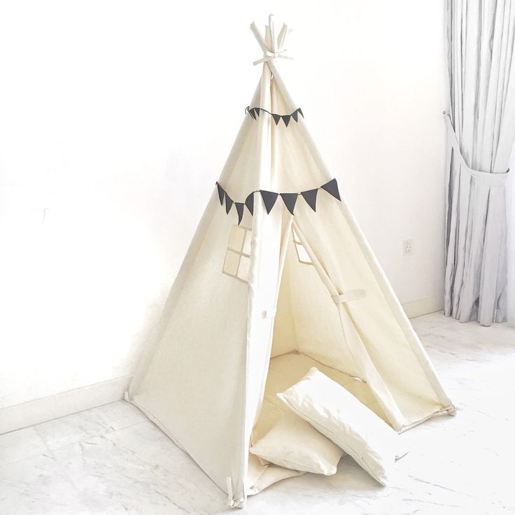 Small Size Natural Canvas Teepee Play Tent - Domestic Objects
