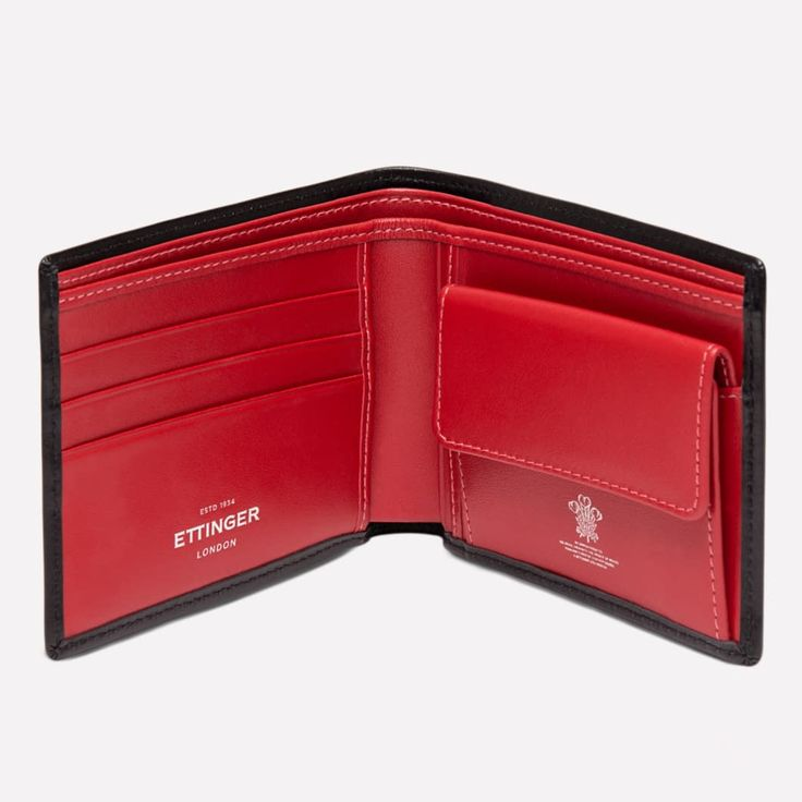 Ettinger London - Luxury Leather Goods - Sterling Billfold Wallet with 3 C/C and Coin Purse in Red