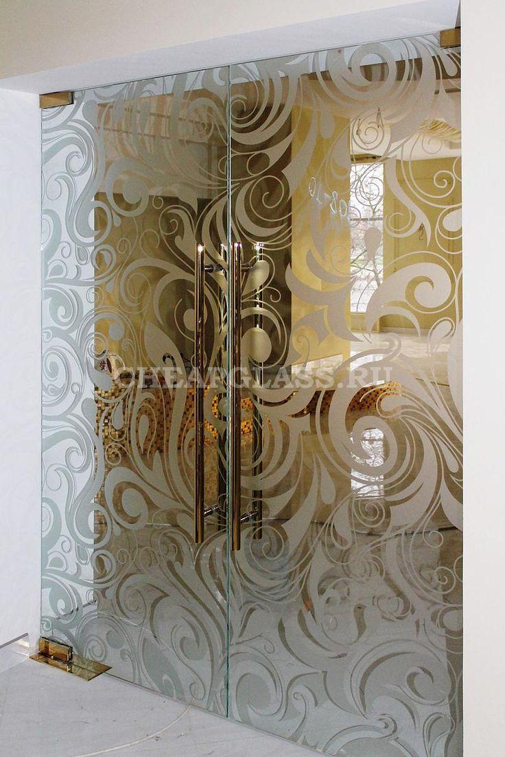 Стеклянные двери с пескоструйным рисунком для ресторана. г. Тверь.