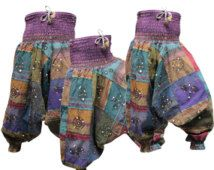 Kleurrijke omvangrijk Harem Aladdin Festival losse passen Rusty Fade Grunge Hippie vrouwen broek Festival Patchwork Harem dames broek Retro Kleding