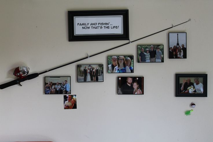 """I tweaked another Pinterest idea I saw for this fishing pole decor for my father-in-law's birthday. He loved to fish when he was younger, and he loves his family! So for some decor in his room at the rest home, my sister-in-laws and I put this idea together! A picture of him and my mother-in-law is right above the hook--for she's the greatest """"catch""""!"""