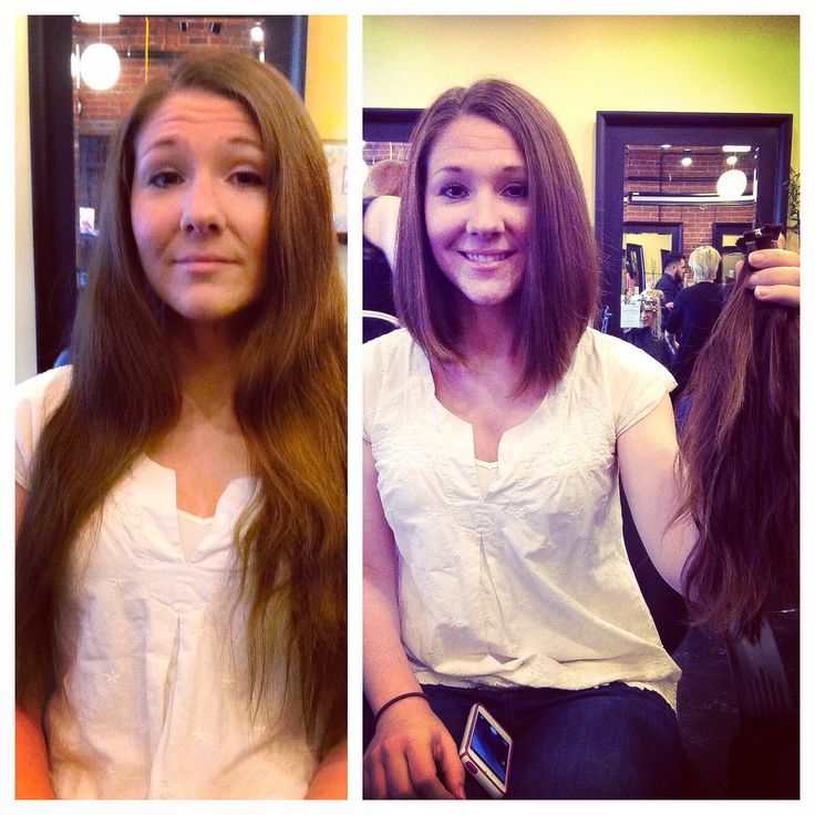 Before and after! Long hair to long bob. Haircut and style by Annji at Aveda Academy Denver!