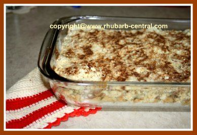This (see pictures) Recipe for Rhubarb Coffee Cake is made in a 9 by 13 inch baking dish.Sugar Free