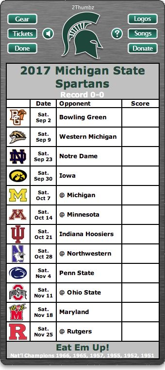 BACK OF WIDGET - 2017 Michigan State Spartans Football Schedule Dashboard Widget for Mac OS X - Go Green!  Go White! - National Champions 1966, 1965, 1957, 1955, 1952, 1951 Download yours at: http://2thumbzmac.com/teamPagesWidgets/Michigan_State_Spartans.htm