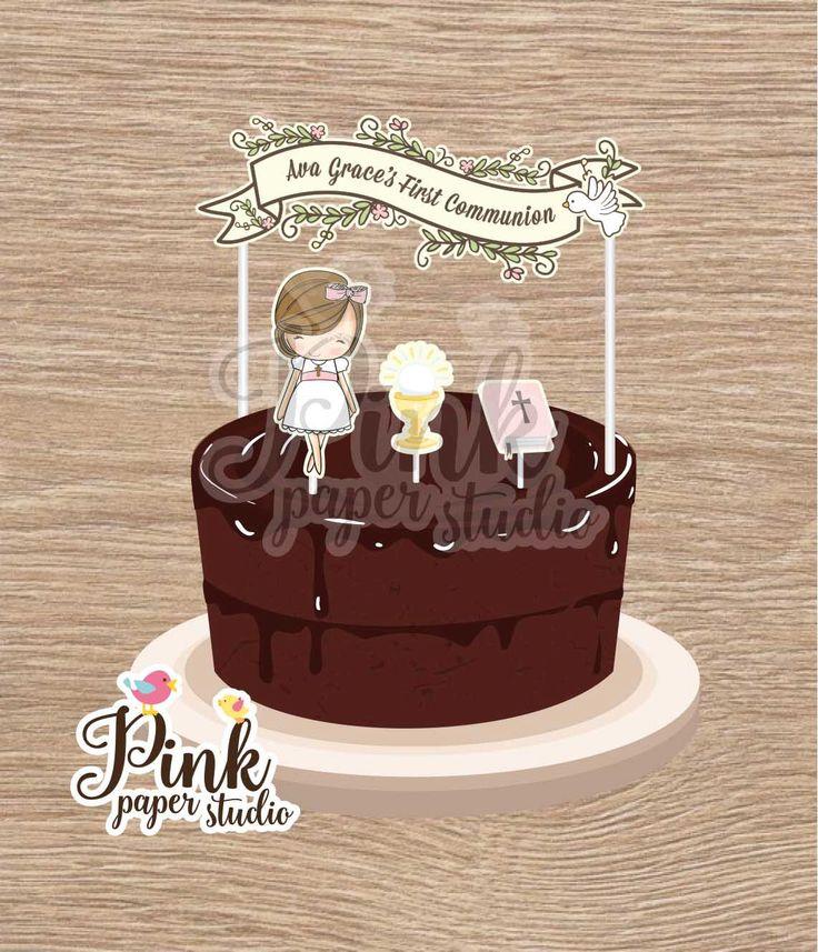 First Communion Cake Banner • Baptism Cake Banner • Custom Cake Banner • Custom Cake Garland • Personalized Cake Garland de PinkPaperStudioMiami en Etsy https://www.etsy.com/es/listing/385910846/first-communion-cake-banner-baptism-cake
