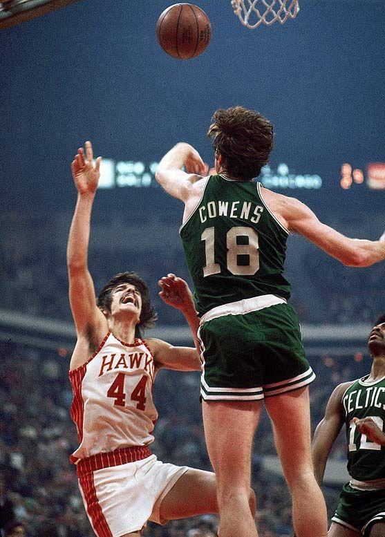 Celtics' Dave Cowens rejecting Pistol Pete.