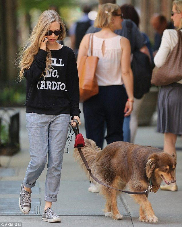 Puppy love: Amanda Seyfried took a leisurely stroll with her golden-brown Australian sheph...