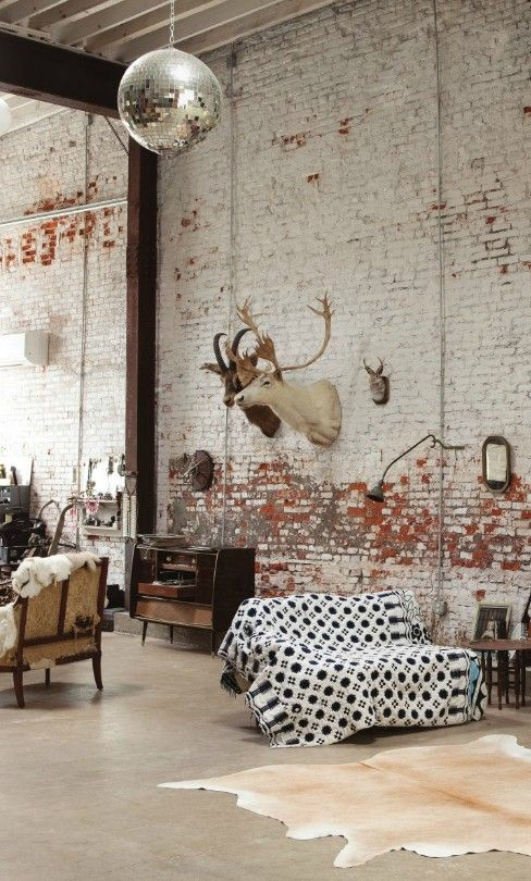 Love the disco ball in this rustic interior