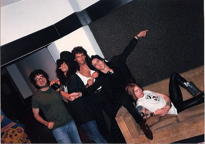 Guns N' Roses in the studio mixing Appetite For Destruction