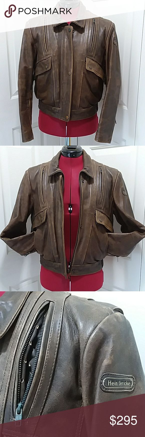 VINTAGE Hein Gericke brown leather moto jacket 36W