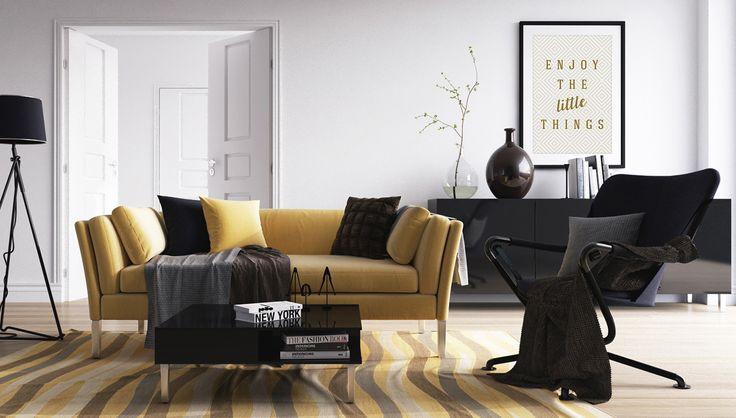 Decoração em tons de preto e amarelo e o quadro acompanhando essa paleta de cores | Crie seu quadro https://www.onthewall.com.br/enjoy-the-little-things-3 #quadro #moldura #canvas #poster #decoração