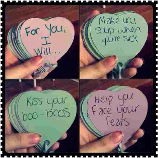 Write about how much you love him, your special memories together or even quote or lyrics that remind you of him on heart shaped papers