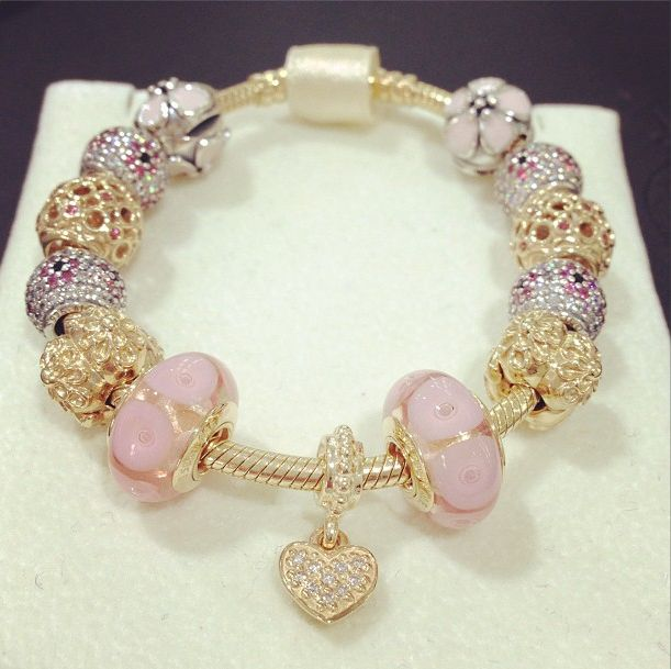 Iso Pink And Gold Pandora Bracelet Glam Pinterest Jewelry Bracelets
