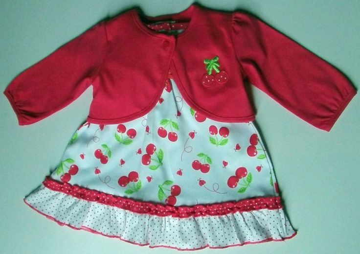 A Beautifully Designed Baby Girls 2 Piece Dress Set with Bolero style top Sizes available 12 months, 18 months and 2 years