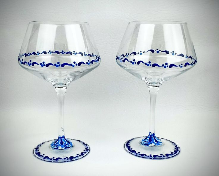 2 Blue painted wine glasses, hand painted wine glass, blue wine glasses, unique wine glass, painted wine glass, beautiful stemmed wine glass by Jodistuff on Etsy