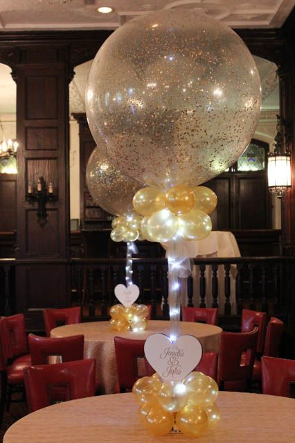 Gold Sparkle Balloon Centerpiece with Custom Cutout for Rehearsal Dinner