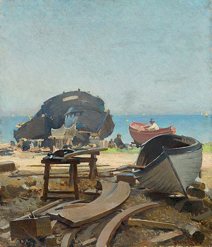 Construction of fishing boats [...] by Dominik Skutecký, 1903. Slovak national gallery, CC BY