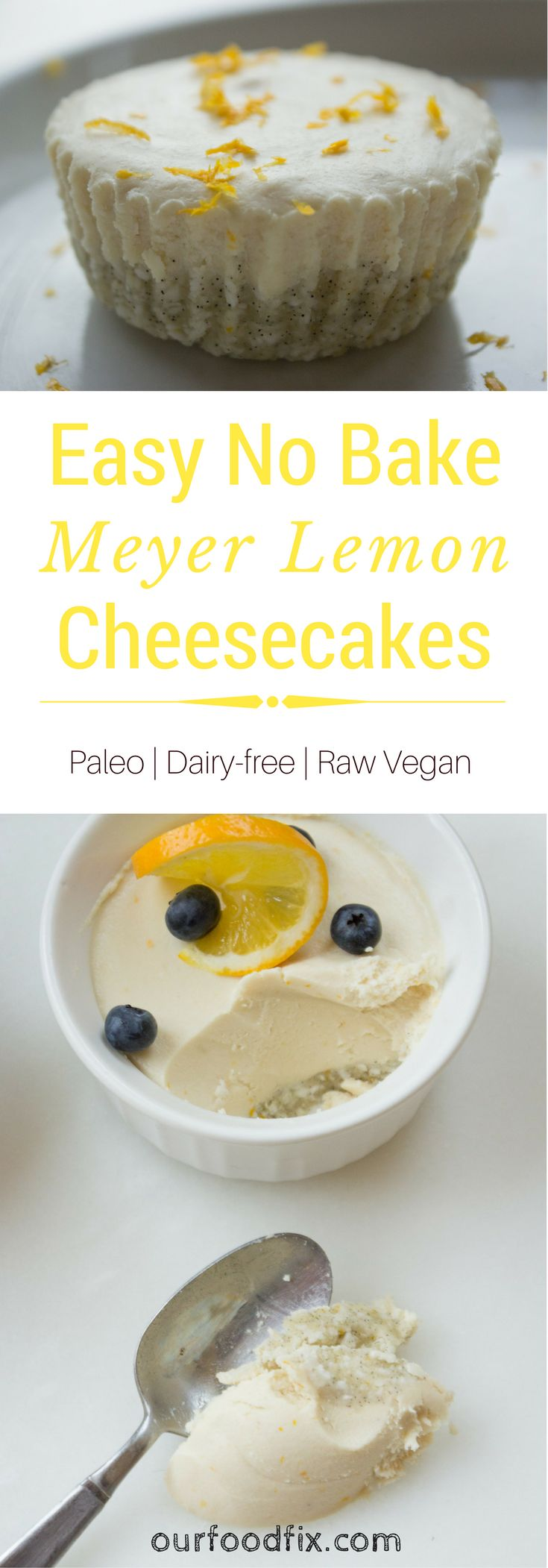 A creamy, light, sweet-tart filling resembles cheesecake so much, no one will have a clue it's Vegan. Free of refined sugar and full of healthy fats to give you energy. Paleo recipes | Vegan recipes | Raw recipes | Paleo desserts | Paleo snacks | Vegan desserts | Meyer lemon | Sweet treats | Spring recipes | Summer recipes | Dairy free recipes | Gluten free recipes | Low carb | Healthy desserts | Cashew cheesecake | Refined sugar free