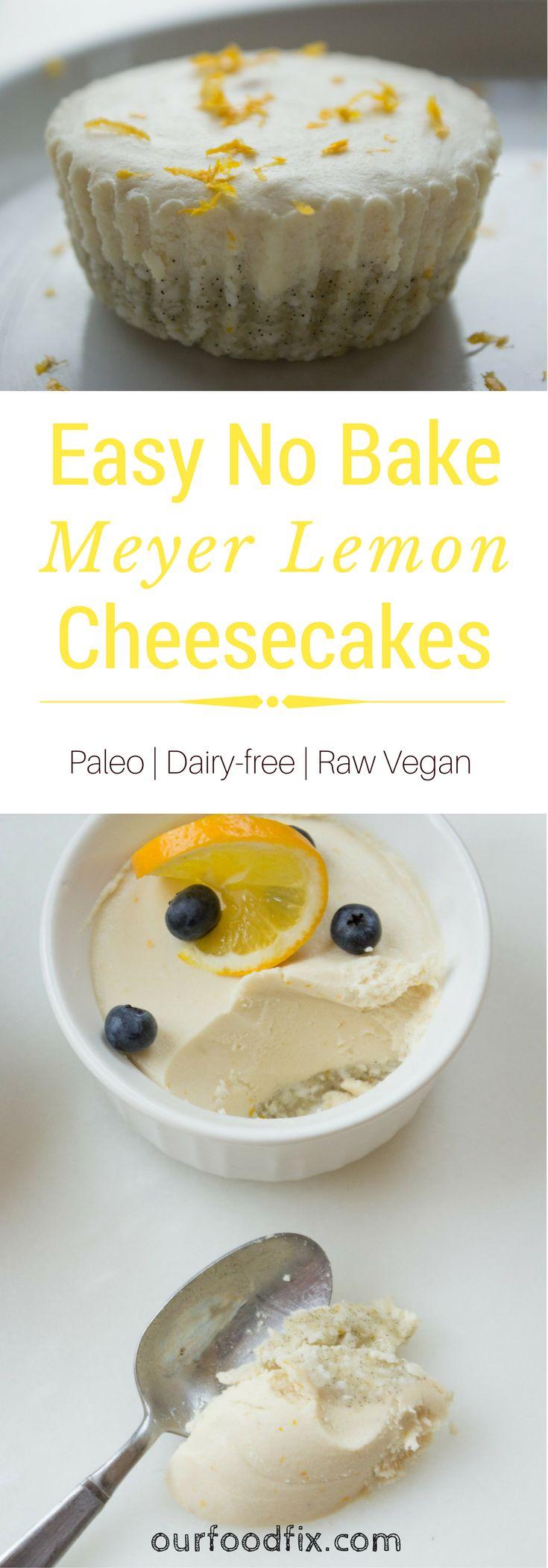 Easy No Bake Meyer Lemon Cheesecakes (Paleo + Vegan)
