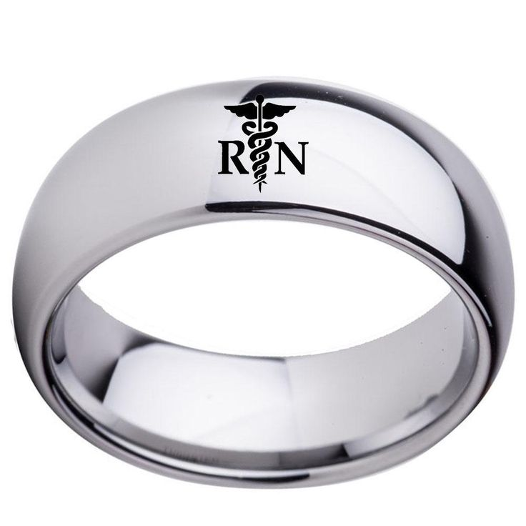 Classic and Stylish RN Grad Ring - Black or Silver Polished