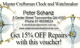 15% Off Watch and Clock Repairs from Peter Schanz