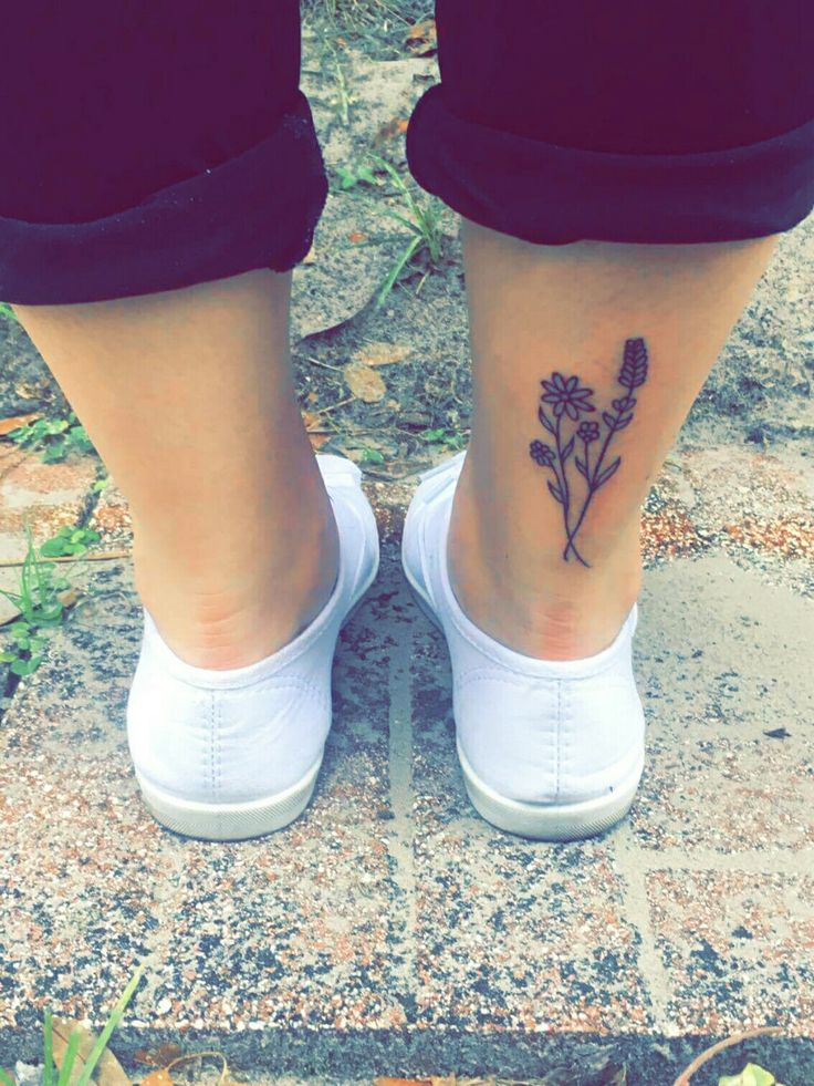 Wild flower tattoo Achilles tattoo Above heel tattoo