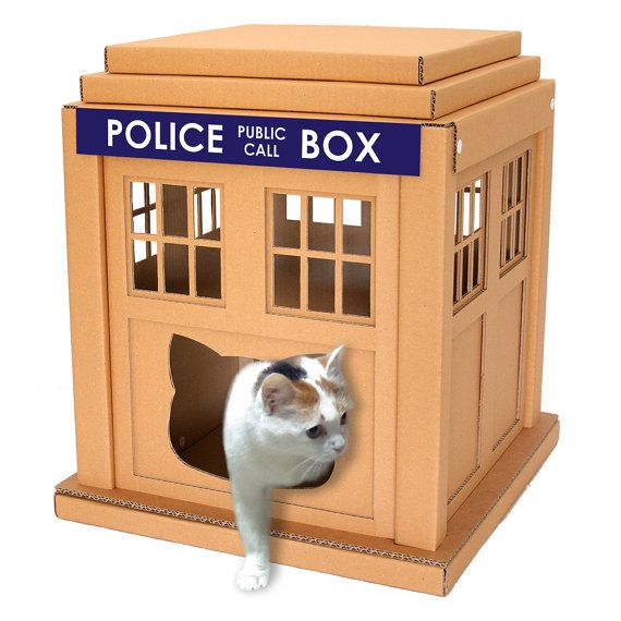 Dr. Who Tardis Cardboard Cat House,Unique Cat Furniture, Cat Toy, Cat Bed, Cat Cave, Pet House, Cardboard Furniture,Cat Condo,DIY Tardis