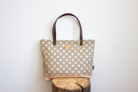 Gold polka dot tote bag Linen and leather tote bag by MUNIshop