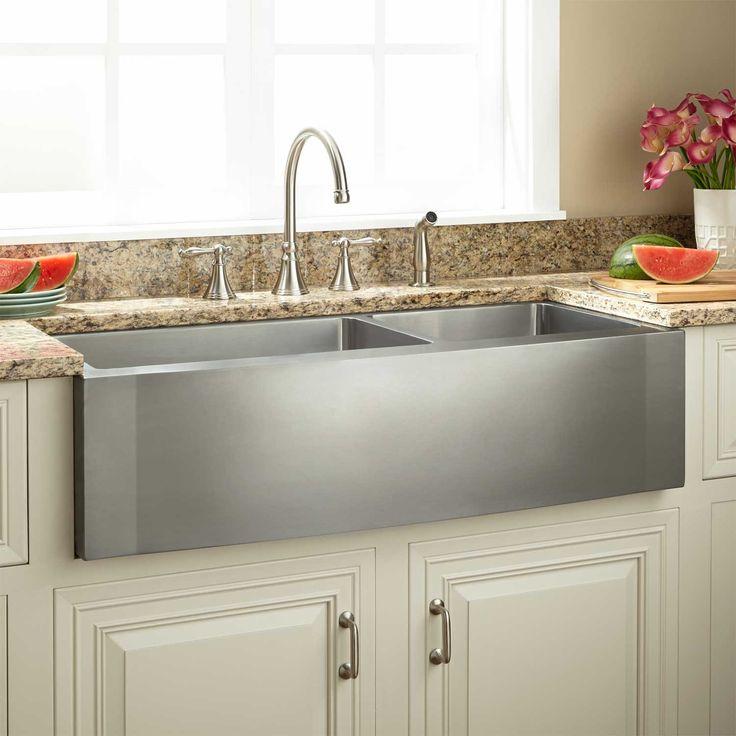 Die besten 25+ rostfreies Bauernhaus Waschbecken Ideen auf - küche mit edelstahl arbeitsplatte