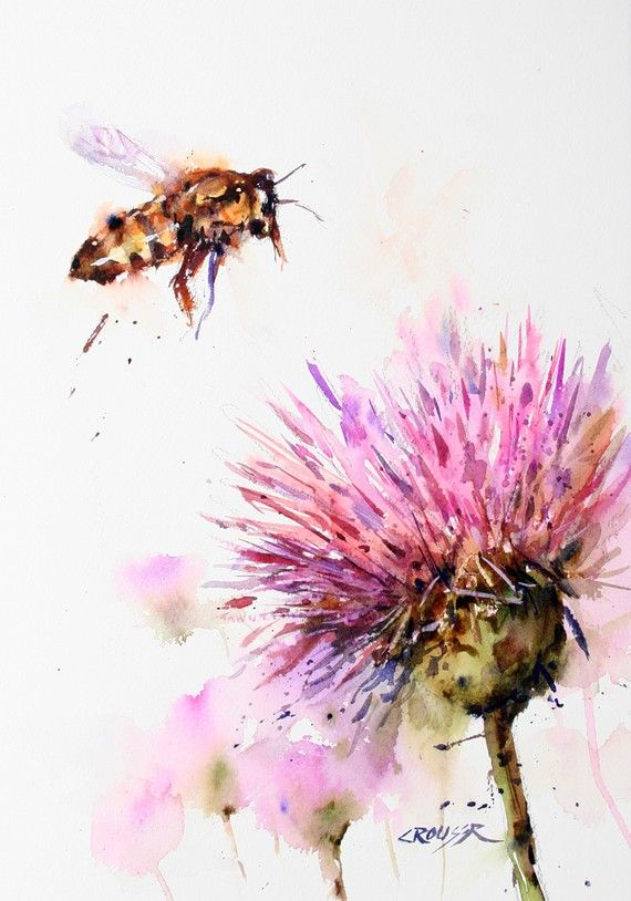 BEE and CLOVER  Watercolor Print Bee Art by Dean Crouser