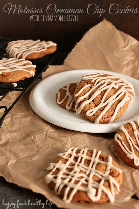 Molasses Cinnamon Chip Cookies with a Cinnamon Drizzle. Perfect for fall or winter cookie platters. And they stay so soft!!