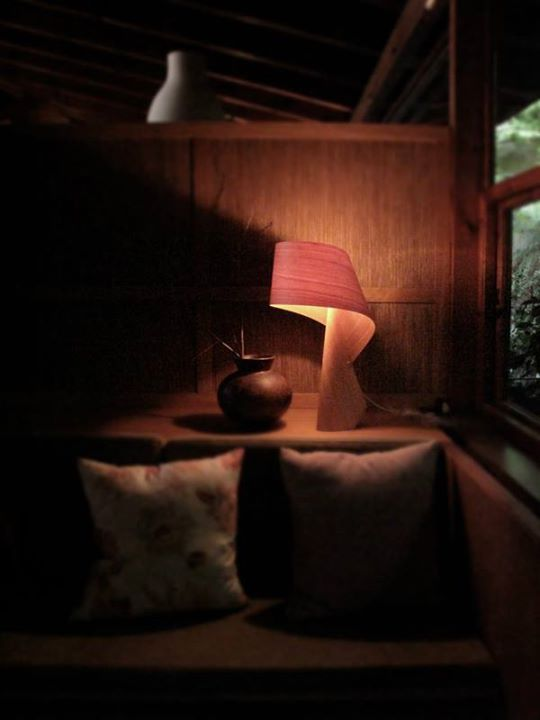 The Warm Glow Of A Air Table Lamp By Ray Power Handmade From Wood In Spain