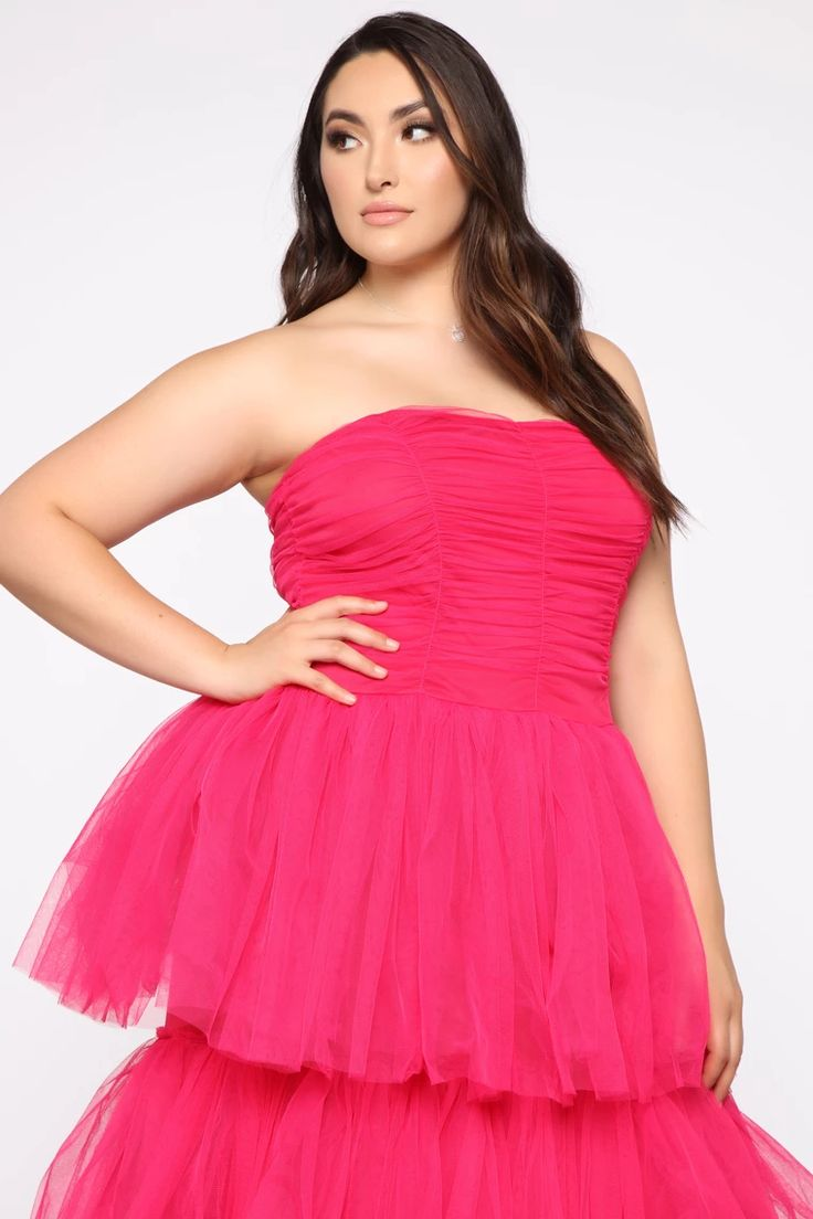 Adore A Ball Tiered Tulle Gown Fuchsia Tulle gown