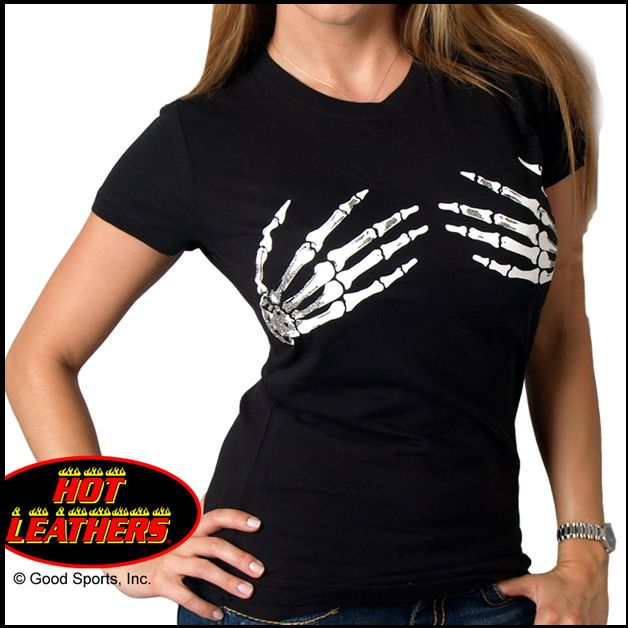HOT LEATHERS Skeleton Hands lyhythihainen (L-2XL)