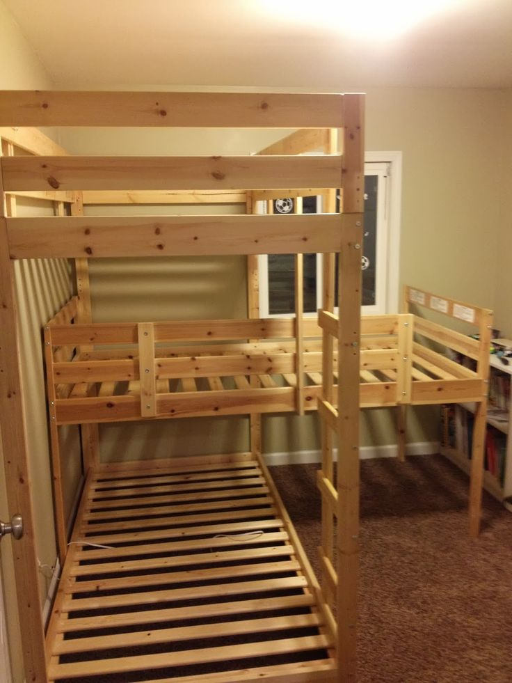 Triple Bunk Hack – Mydal Bunkbeds - IKEA Hackers for the lake house.