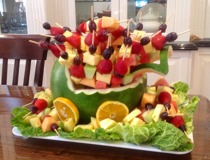 Fresh fruit baby cradle for Em's baby shower from Essendon Fruit Supply