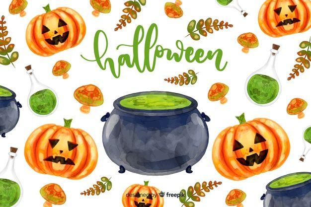 Watercolor Halloween Background Premium Vector Freepik Vector
