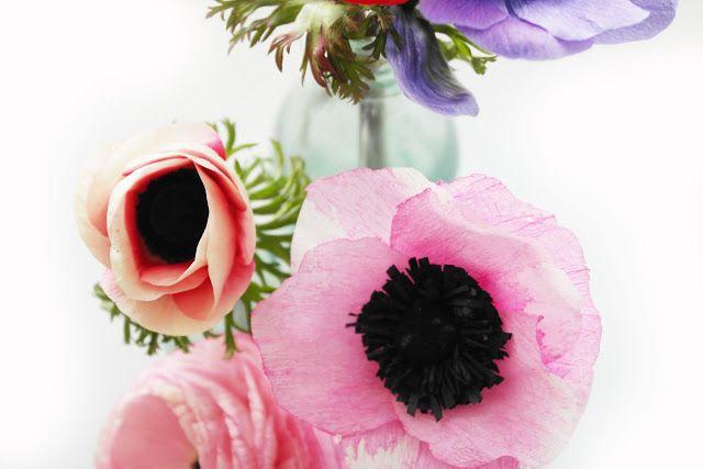 DIY crepe paper anemones