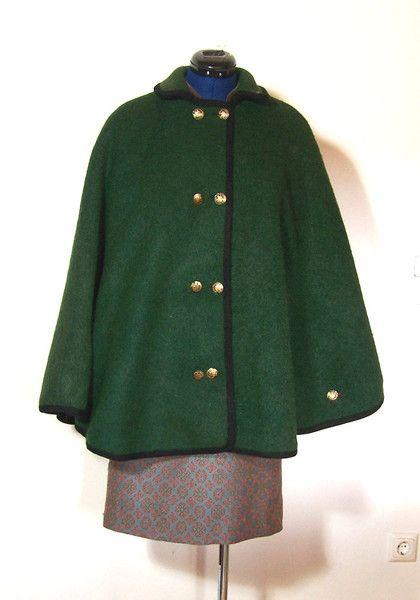 1970 39 s mantel 70er jahre fellkragen tweed products capes and ponchos. Black Bedroom Furniture Sets. Home Design Ideas