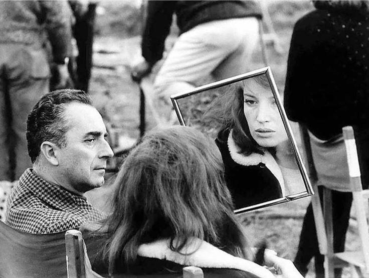 Antonioni and Vitti take a break from shooting RED DESERT in Ravenna, Italy.