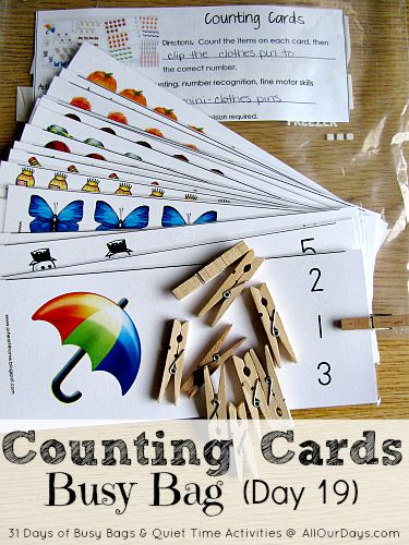 Counting Cards Busy Bag #freeprintable (Day 19) 31 Days of Busy Bags & Quiet Time Activities @ AllOurDays.com