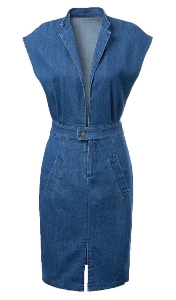 Blue Lapel Deep Plunge Open Belly Split Denim Bodycon Dress