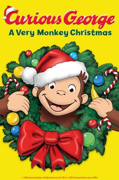 Curious George: A Very Monkey Christmas Poster Artwork - Frank Welker, Jeff Bennett, Jim Cummings - http://www.movie-poster-artwork-finder.com/curious-george-a-very-monkey-christmas-poster-artwork-frank-welker-jeff-bennett-jim-cummings/