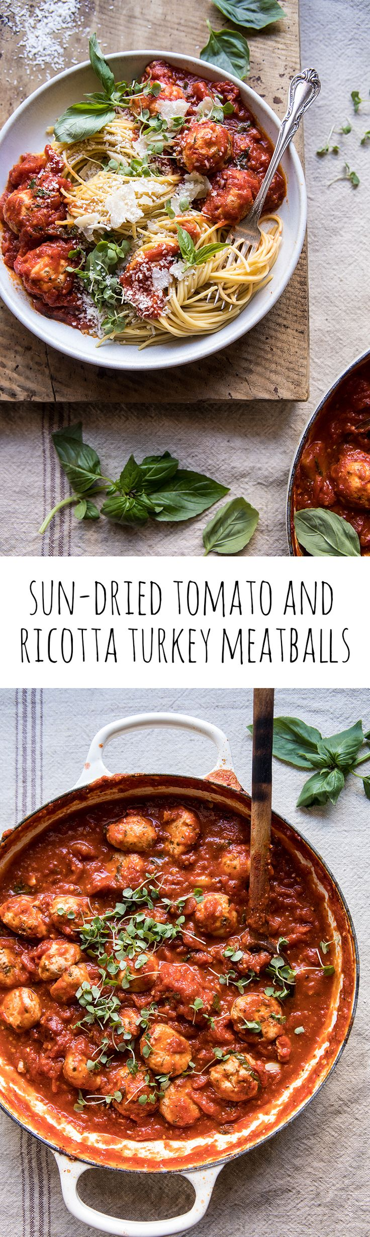 Sun-Dried Tomato and Ricotta Turkey Meatballs | halfbakedharvest.com #pasta #Italian #easy #healthy